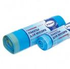 Пакет мусорный ПНД 50смх60см повышенной прочности с завязками Komfi 30л голубой в рулоне/30шт 3704