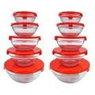 Набор мисок из ажурного стекла, 5 предметов (Glass bowl set with color lid)