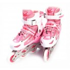 Коньки роликовые детские раздвижные, размер L (розовые) DE 0098