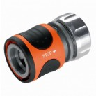 """Коннектор с автостопом Premium 19 мм (3/4"""") и 16 мм (5/8""""), в упаковке Gardena 08169-20.000.00"""