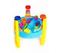 Стол игровой для песка и воды с набором формочек «СЧАСТЛИВЫЙ КАРАПУЗ» DE 0086