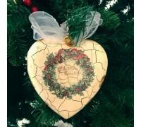 """Игрушка новогодняя декорированная пластиковая """"Сердце с кракелюром"""""""