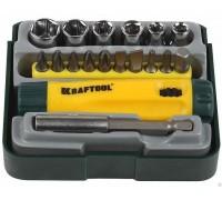 """Набор KRAFTOOL """"EXPERT"""": Отвертка реверсивная с битами, адаптером и торцевыми головками, Cr-V, 18 пр"""