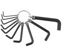 Набор DEXX: Ключи имбусовые, оксидированные, на кольце, HEX, 1,5-2-2,5-3-3,5-4-5-5,5-6-8, 10шт