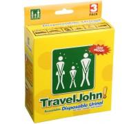 Писуар карманный Travel John универсальный для мужчин, женщин, детей (объем 0.8 л., в упаковке 3 шт