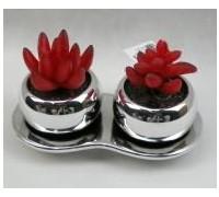 Искусственный цветок Суккуленты, 2 цветка, в серебристом горшке (30435)