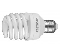"Энергосберегающая лампа СВЕТОЗАР ""КОМПАКТ""спираль,цоколь E27(стандарт),Т2,теплый белый свет(2700 К), 25"
