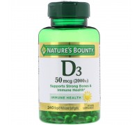 Витамин D3 Nature's Bounty, 50 мкг (2000 IU), 240 мягких таблеток