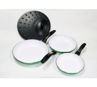 Набор из 3 сковородок с керамическом покрытием и одной крышки TK 0018