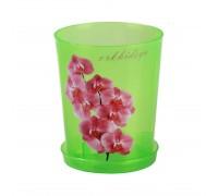 Горшок цв. для орхидеи 1,2 л с под. зел. прозрачный М1452