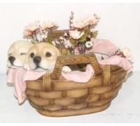Горшок Два щенка в корзинке HP08051