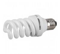 "Энергосберегающая лампа СВЕТОЗАР ""КОМПАКТ"" спираль,цоколь E27(стандарт),Т2,теплый белый свет(2700 К), 20"