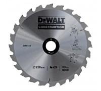 DeWalt, DT1158, Пильный диск по дереву CONSTRUCTION для стационарных  пил 250/30 2.0/3.0 24 WZ 10°,
