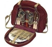 Набор для пикника Fiesta Duet (на 2 персоны, цвет бордовый, набор посуды + изотермическое отделение, вес 2кг)