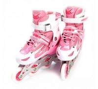 Коньки роликовые детские раздвижные, размер M (розовые) DE 0096