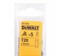 DeWalt, DT7255, Насадки  Torsion  для шурупов со шлицем Torx, T20 x 25 мм, 5 шт.