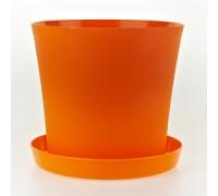 Горшок Фиалка 110мм с поддоном, оранжевый  Польша