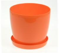 Горшок Магнолия 120мм с поддоном, оранжевый  Польша
