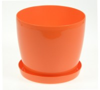 Горшок Магнолия 135мм с поддоном, оранжевый  Польша