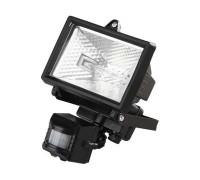 Прожектор галогеновый СВЕТОЗАР с датчиком движения, с дугой крепления под установку, цвет черный, 50