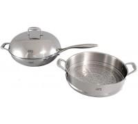 1612 Сковорода с крышкой и вставка пароварка 3пр (нерж.сталь): сковорода ВОК 32*8,7см, пароварка 32*