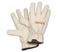 Перчатки для работы с бензопилой  Стандарт из воловьей кожи на хлопковой подкладке. Эластичные манже
